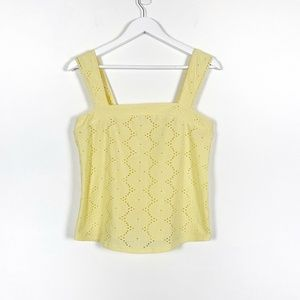 Butter Yellow Eyelet Loose Fit Tank Top